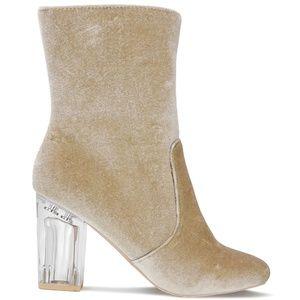 Women's Clear Chunky Heel Nude Velvet Ankle Boot